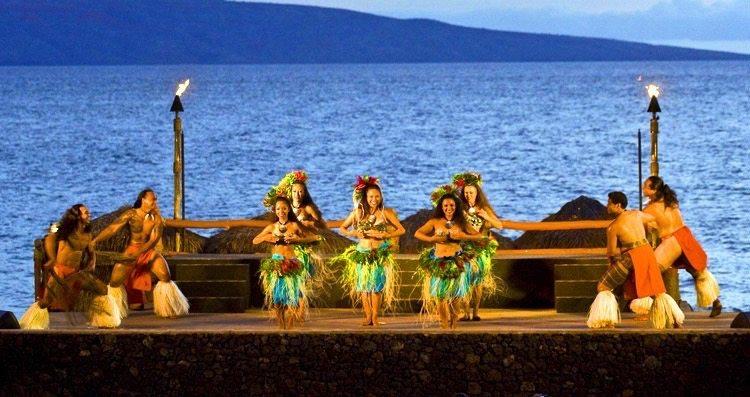 Hawaiian Hula Dancers On Stage With Ocean Background At Wailea Beach Front Marriott Luau