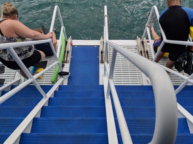 Easy water entry aboard Calypso Maui